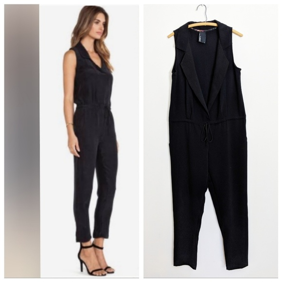 Anthropologie Pants - Anthropologie Dolan Black Collared Jumpsuit Large